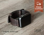 Apple Watch Band Leather Watch Band Minimal in Dark Brown Espresso Color for Series 1 and 2 [Handmade] [Custom Colors] [FREE SHIPPING]