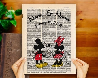 Classic Mickey Mouse & Minnie Mouse with Names and Date on Vintage Upcycled Dictionary Art Print Book Anniversary Wedding Romance Custom