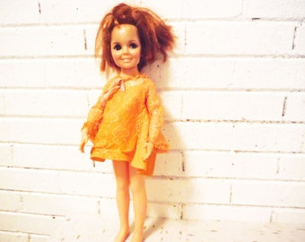 Oh dear Shabby Chrissy doll ginger redhead retractable ponytail hot mess tangerine mini dress
