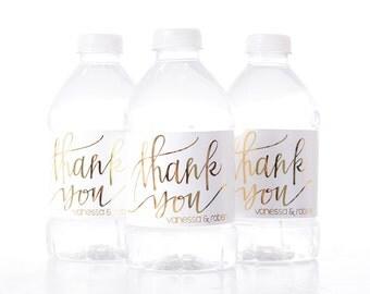 METALIC FOIL Thank You Wedding Water Bottle Labels - Real Metallic Foil Water Bottle Labels - Shiny Wedding Water Bottle Labels - Foil