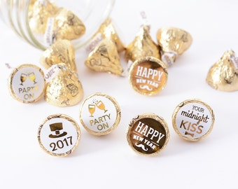 New Years Eve Party Decorations - 108 METALLIC Candy Stickers - New Years Candy Stickers - New Years Party Favors - Metallic Foil Stickers