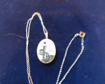 REDUCED  Scrimshaw Lighthouse on Fine Silver Chain