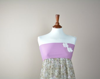 Flowery strapless top, Tube top, Tank top, Romantic top, womens top, Pink top, Womens clothing, Crop top, Babydoll top