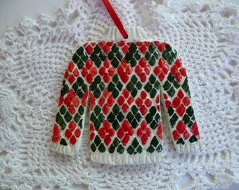 Sweater Christmas Ornaments - Argyle Sweater