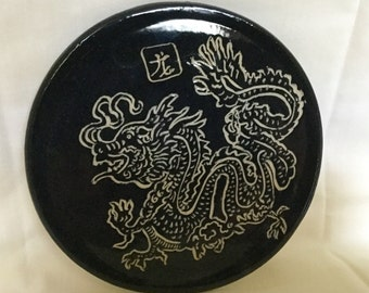Tile dragon black on Etsy by IndianHeadClay