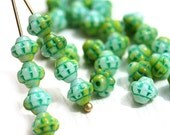 30pc Green Mint Mixed Bicone beads, Czech Republic glass spacer beads, 6mm fancy bicones - 2337