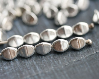 50pc Silver Pinch beads, 5mm czech glass beads, 5x3mm, pressed triangle spacer beads - 2601