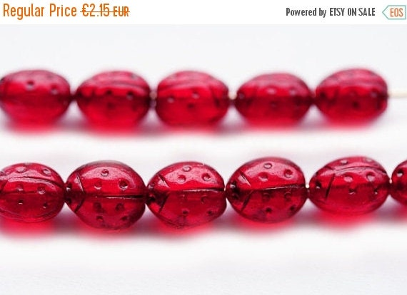 30%OFF SALE Red ladybugs, Small ladybirds, Czech Glass beads - dark red transparent, black dots - 7x5mm - 15Pc - 0173