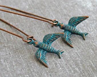 Verdigris Bird Earrings .. swallow earrings, copper earrings, green bird, long bird earrings