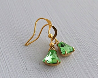 Green Bell Earrings .. vintage glass, peridot green earrings, bell earrings, small earrings