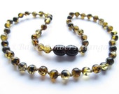 Baltic Amber Baby Teething Necklace Perfectly Rounded Green Beads
