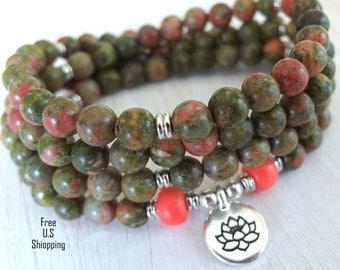 Unakite Mala, 108 beads, Mala Bracelet or Necklace, Reiki, Buddhist Rosary,Prayer beads, Gemstone, wrist mala, Lotus, buddha, ohm, om