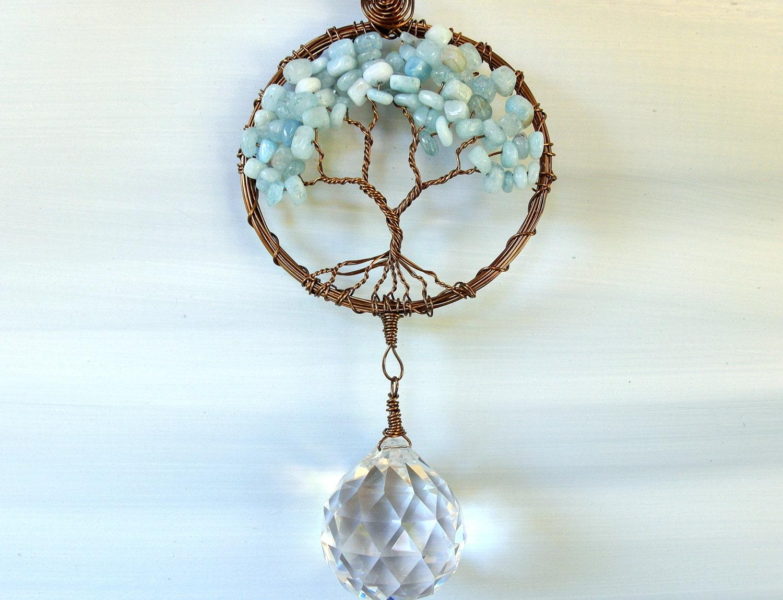 Tree of life ornament - Aquamarine Tree Of Life Crystal Suncatcher Prism Ball Feng Shui Rainbow
