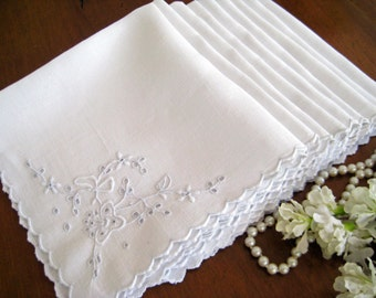 9 Vintage Linen Cocktail Napkins Luncheon, White Work, Embroidery, Cutwork, Scalloped 1940's