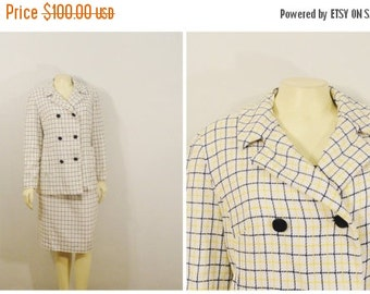 SALE Vintage Suit 40s 50s Double Breasted Blazer Metal Zipper Skirt Custom Made Size Medium