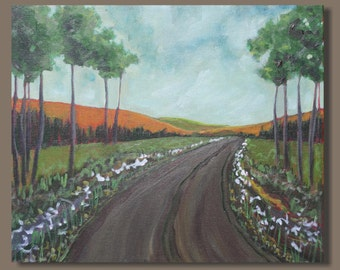 semi abstract painting, landscape painting, gift, road painting, countryside, green orange, impressionist painting, small art, wall art
