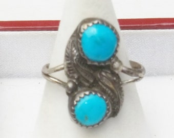 Vintage Ring Sterling Silver Turquoise Feather Design Fine Jewelry