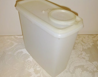 Vintage Tupperware Container White with Flip Top Lid Cereal Storage