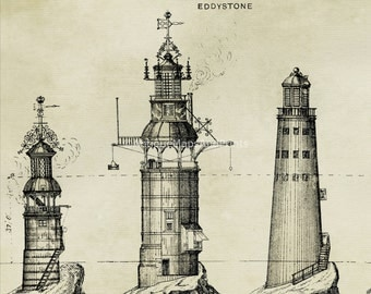 Poster Photo Print Old Lighthouses Architecture Antique Repro 8x10 to 30x40
