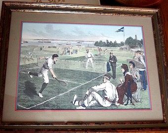 Rare Hand Colored Framed Lithograph of Staten Island Cricket Club Match Circa 1880s - REDUCED