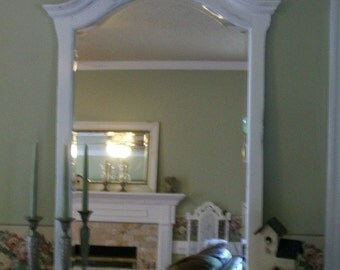 Distressed Curved Mirror Beveled Glass