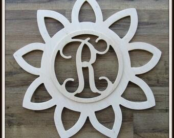 "Sunflower Sun Door Hanger with Monogram Letter - Unpainted Wood - 22"" size - Kitchen - Bedroom - Family - Wooden Letter - Wall Hanging - Sun"