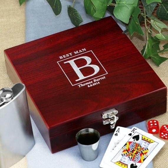 Man Cave Groomsmen Gifts : Personalized rosewood poker flask set groomsmen gift