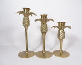 Vintage Set of 3 Brass Pineapple Candle Holders - Welcome Symbol Pineapple Candle Holders