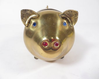 Vintage Brass Pig Piggy Bank  - Brass Pig Bank Rhinestones