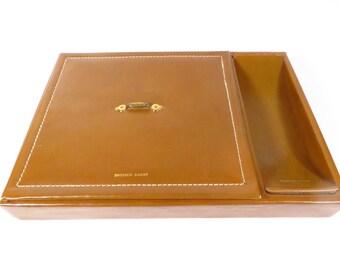 Vintage Mans Leather Dresser Case - Leather Dresser Caddy Box