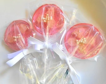22 UNIQUE WEDDING FAVORS Light Pink, Organic Rose Petal Lollipops, Silver Glitter Lollipop, Wedding Guess Favors, Large, Ribbon 22