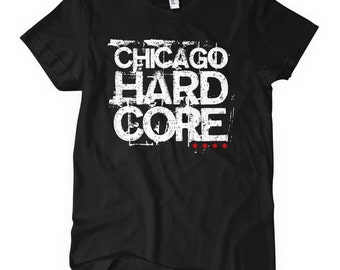 Women's Chicago Hardcore T-shirt - S M L XL 2x - Ladies' Chicago Tee, Native, Represent, Music - 4 Colors