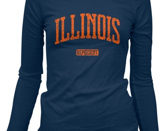 Women's Illinois Represent Long Sleeve Tee - LS Ladies T-shirt - S M L XL 2x - Illinois Shirt, Champaign, Urbana, Chicago - 3 Colors