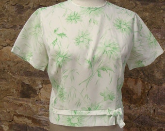 TERRY CHICAGO green floral SHELL blouse mad men 1960's 60's L