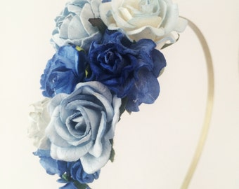 Floral fascinator with Dark Royal Blue Flowers Fascinator Vintage Wedding Party Bridal Accessory Bridesmaid statement