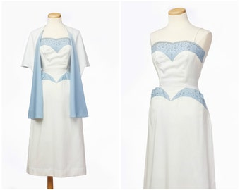 r e s e r v e d // Rhinestone 50s Dress Set // Vintage Bombshell Dress Shawl Two Piece Wiggle Dress Small Medium