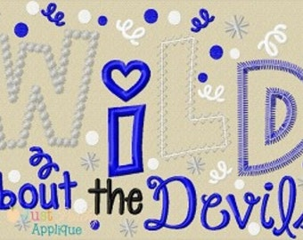 Wild About the Devils Machine Embroidery Applique Design Buy 2 for 4! Use Coupon Code 50OFF