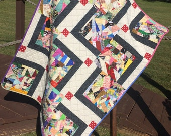 """A Liberated 40"""" X 53.75"""" Stair Steps Scrap Quilt"""