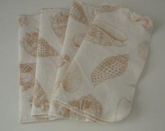 New* Mindful Manners Set of 4 Reusable Cloth napkins Light Mocha Nautical Shells