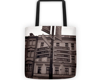 International Street Signs Prague Tote for Eco Shopping and School and Sundry