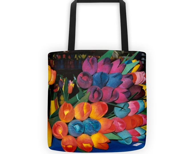 Colorful Wooden Tulips Tote for Eco Shopping and School and Sundry