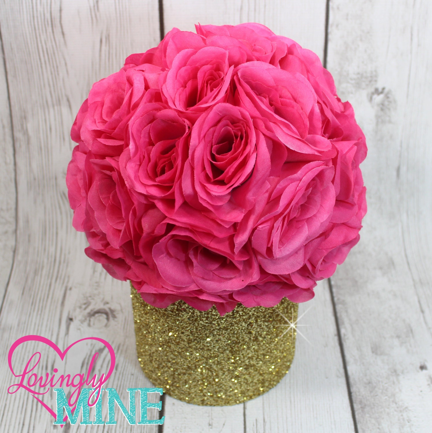 Glitter gold hot pink centerpiece silk rose