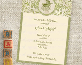 Buggy Baby Shower Inviation Baby Pram Shower in Green Gender Neutral Custom Personalized Digital Professional Printing Option