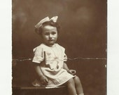 Halloween Sale little italian girl with big bow real photo postcard from Italy