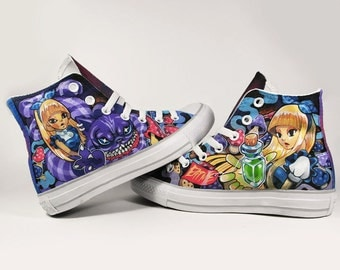 LALICE in Wonderland, full painting converse, Annatar original design, custom shoes, shoes painting