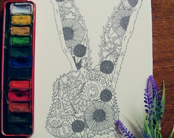 Hare colouring page//Adult colouring page//Printable Art//Printable colouring page//Hare art//Nature art//Wildlife art//Pen and ink drawing