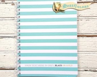 French Stripe Personalized Spiral Notebook - Custom Small Travel Size NoteBook - Color Choice - Back to School Gift for Kids - Breton Stripe
