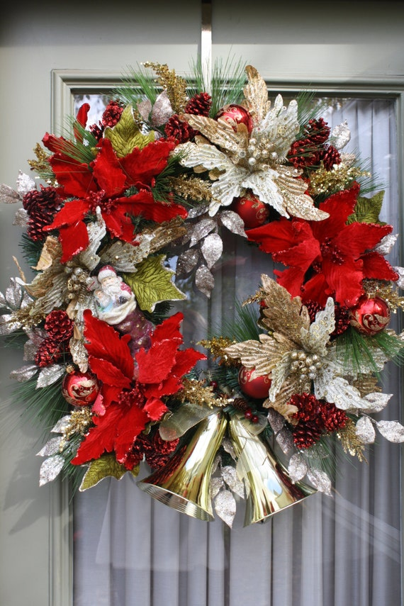 Christmas Wreath Red & Gold Elegant Holiday Wreaths Gold Bells