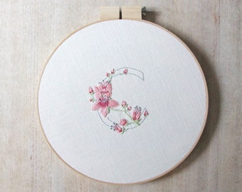 Floral Alphabet Embroidery Wall Art