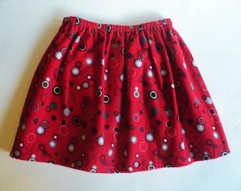 Girls Red Skirt, Flannel Skirt, Toddler Skirt, Size 2 Ready To Ship, Warm Skirt, Handmade Skirt,  Girls Clothes, Winter Clothes